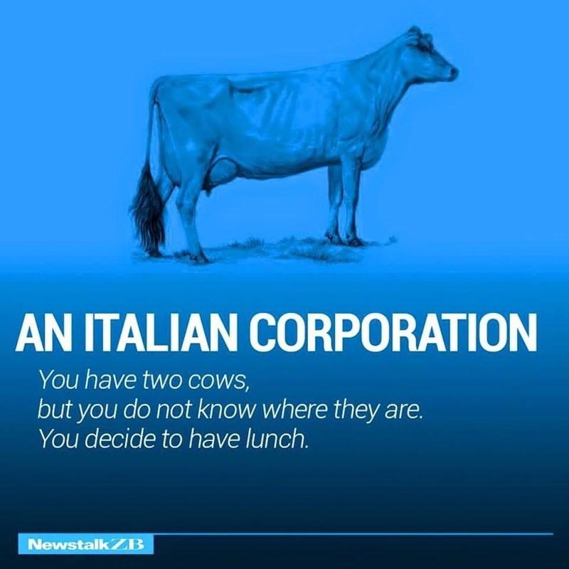 Water - AN ITALIAN CORPORATION You have two COWS, but you do not know where they are. You decide to have lunch. NewstalkZB