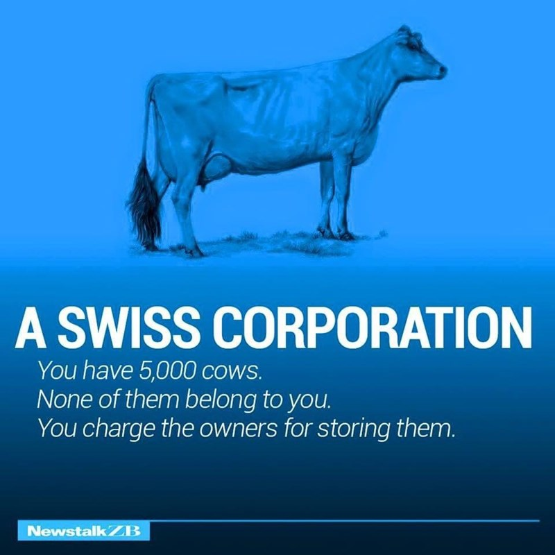 Water - A SWISS CORPORATION You have 5,000 cows. None of them belong to you. You charge the owners for storing them. NewstalkZB
