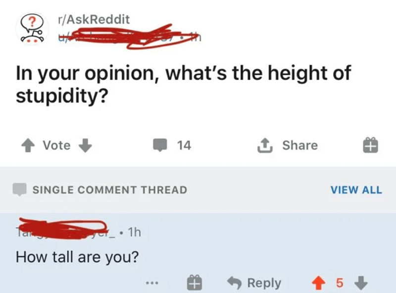 Text - r/AskReddit In your opinion, what's the height of stupidity? Vote 14 1 Share SINGLE COMMENT THREAD VIEW ALL Tar 1h How tall are you? Reply