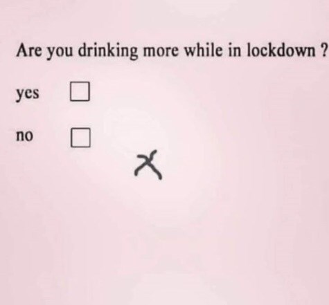 Text - Are you drinking more while in lockdown ? yes no