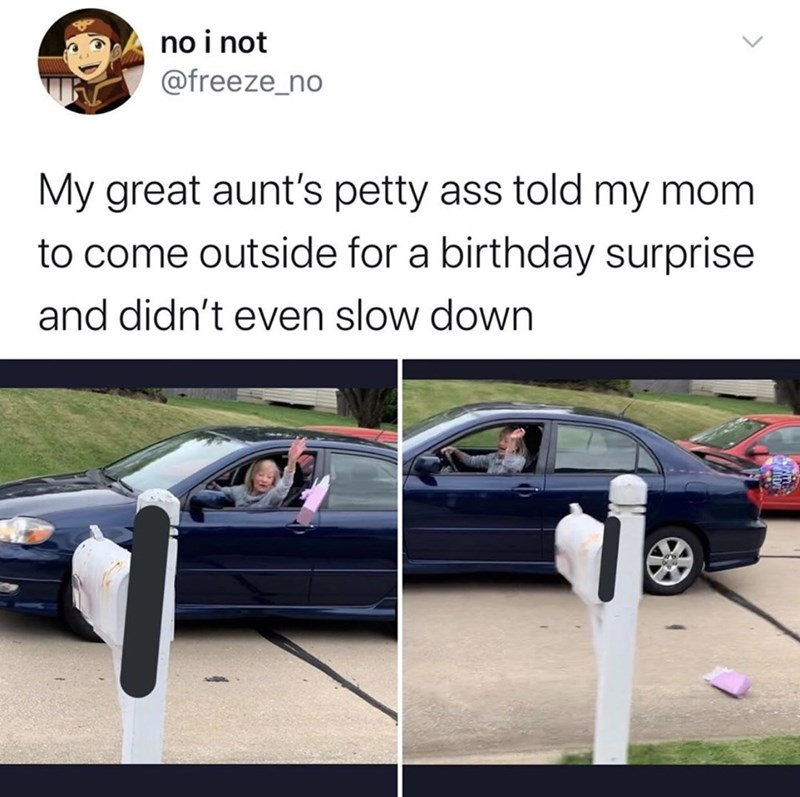 Vehicle door - no i not @freeze_no My great aunt's petty ass told my mom to come outside for a birthday surprise and didn't even slow down