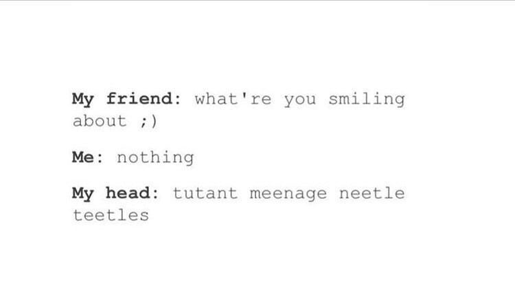 Text - My friend: what're you smiling about ;) Me: nothing My head: tutant meenage neetle teetles