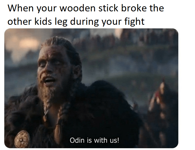 Text - When your wooden stick broke the other kids leg during your fight Odin is with us!