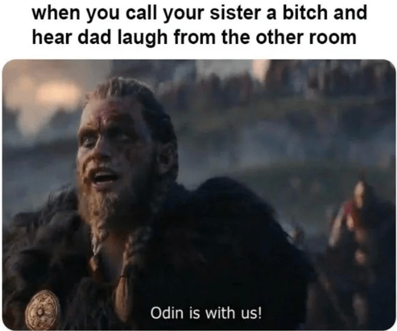 Photo caption - when you call your sister a bitch and hear dad laugh from the other room Odin is with us!