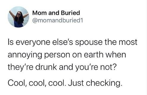 Text - Mom and Buried @momandburied1 Is everyone else's spouse the most annoying person on earth when they're drunk and you're not? Cool, cool, cool. Just checking.
