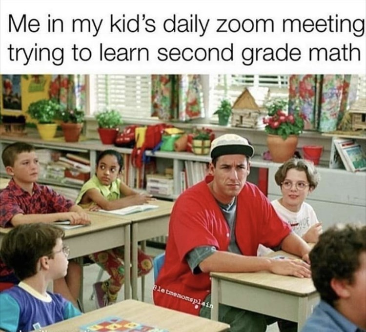 Learning - Me in my kid's daily zoom meeting trying to learn second grade math letmemomsplain
