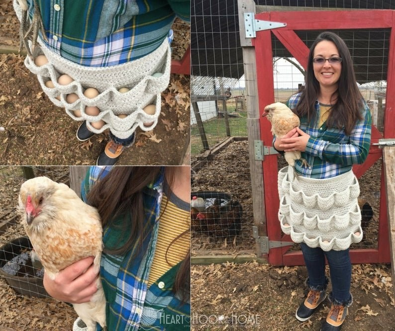 photo of a woman standing by a coup holding a chicken in her arms and wearing a knitted apron with multiple pockets to store eggs safely