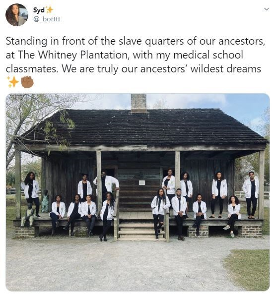 Adaptation - Syd @_botttt Standing in front of the slave quarters of our ancestors, at The Whitney Plantation, with my medical school classmates. We are truly our ancestors' wildest dreams