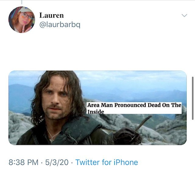 Text - Lauren @laurbarbq Area Man Pronounced Dead On The Inside 8:38 PM 5/3/20 - Twitter for iPhone