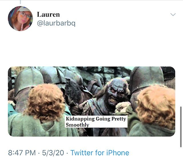 Text - Lauren @laurbarbq Kidnapping Going Pretty Smoothly 8:47 PM · 5/3/20 · Twitter for iPhone