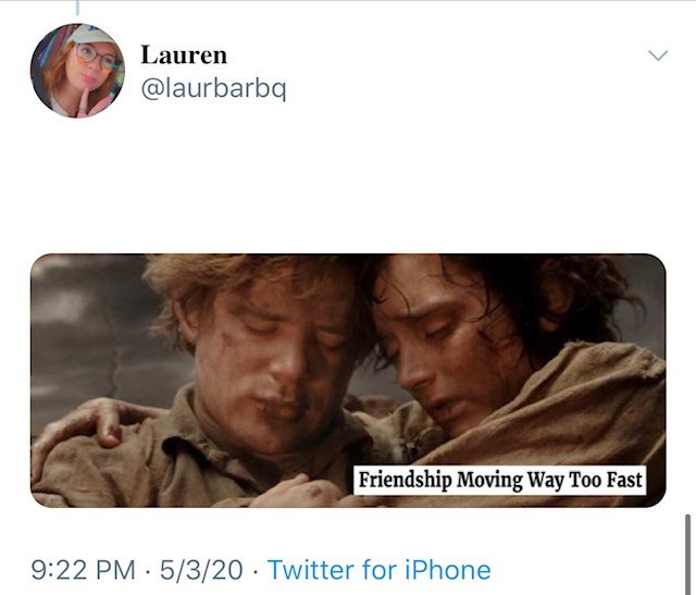 Text - Lauren @laurbarbq Friendship Moving Way Too Fast 9:22 PM · 5/3/20 · Twitter for iPhone