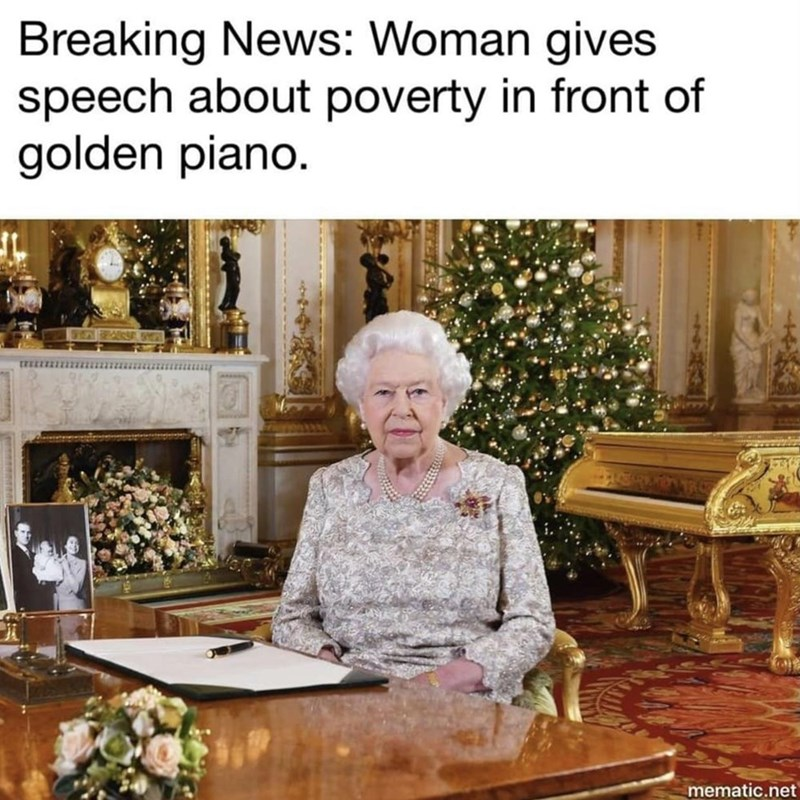 Room - Breaking News: Woman gives speech about poverty in front of golden piano. mematic.net