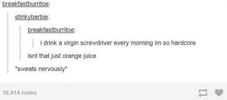 "Text - breakfastburritoe: stinkybarbie: breakfastburritoe: i drink a virgin screwdriver every morning im so hardcore isnt that just orange juice ""sweats nervously"" 16,414 notes"