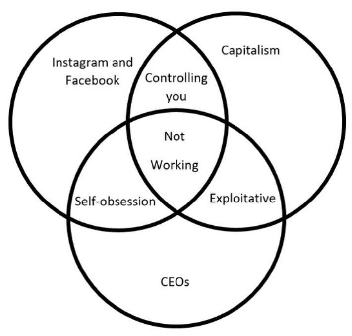 Text - Capitalism Instagram and Facebook Controlling you Not Working Self-obsession Exploitative CEOS