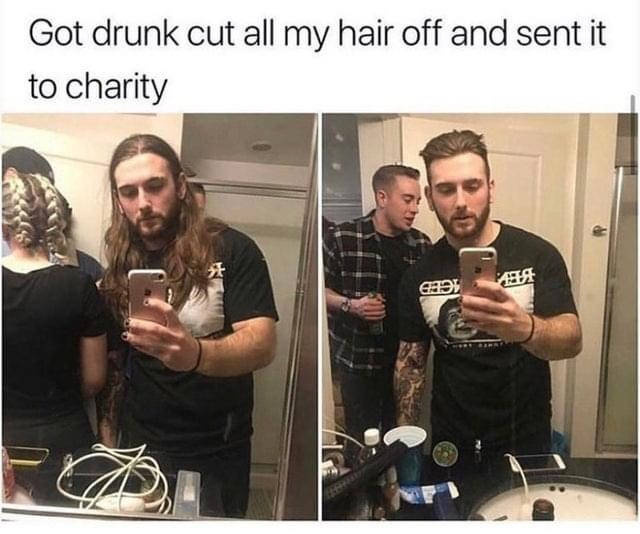 Facial hair - Got drunk cut all my hair off and sent it to charity