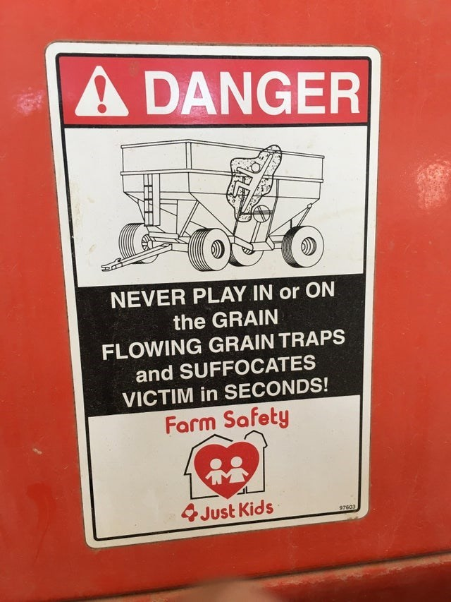 Motor vehicle - A DANGER NEVER PLAY IN or ON the GRAIN FLOWING GRAIN TRAPS and SUFFOCATES VICTIM in SECONDS! Farm Safety Just Kids 97603