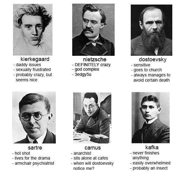 Facial expression - kierkegaard - daddy issues - sexually frustrated - probably crazy, but seems nice dostoevsky nietzsche - DEFINITELY crazy - god complex - 3edgy5u - sensitive - goes to church - always manages to avoid certain death sartre camus kafka - hot shot - lives for the drama - armchair psychiatrist - anarchist never finishes - sits alone at cafes - when will dostoevsky anything - easily overwhelmed - probably an insect notice me?