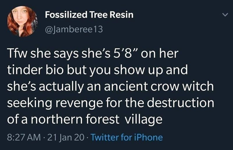 "Text - Fossilized Tree Resin @Jamberee13 Tfw she says she's 5'8"" on her tinder bio but you show up and she's actually an ancient crow witch seeking revenge for the destruction of a northern forest village 8:27 AM · 21 Jan 20 · Twitter for iPhone"