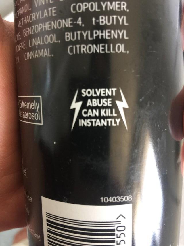 Drink - PANOL METHACRYLATE COPOLYMER, DE BENZOPHENONE-4, t-BUTYL DENE, LINALOOL, BUTYLPHENYL CINNAMAL, CITRONELLOL, dremely e aerosol SOLVENT ABUSE CAN KILL INSTANTLY 10403508 Mealand