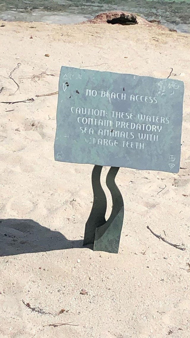 Text - A NO BEACH ACCESS CAUTION: THESE WATERS CONTAIN PREDATORY SEA ANIMALS WITII VIARGE TE TH