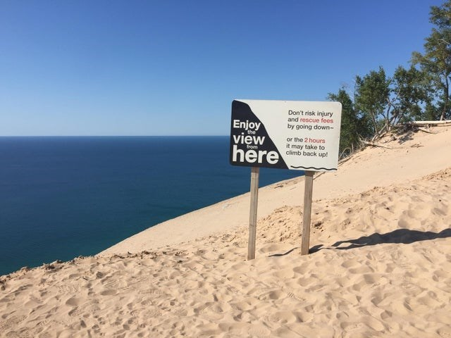 Sand - Don't risk injury and rescue fees by going down- Enjoy view here the or the 2 hours it may take to climb back up! from