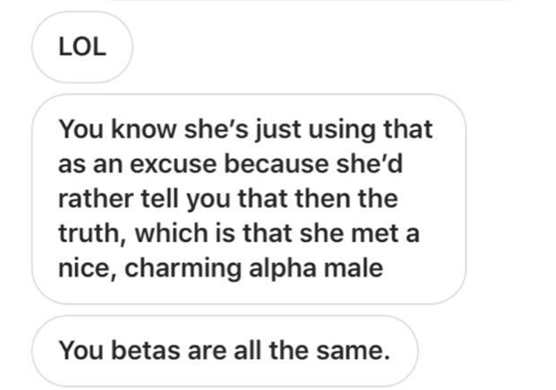 Text - LOL You know she's just using that as an excuse because she'd rather tell you that then the truth, which is that she met a nice, charming alpha male You betas are all the same.