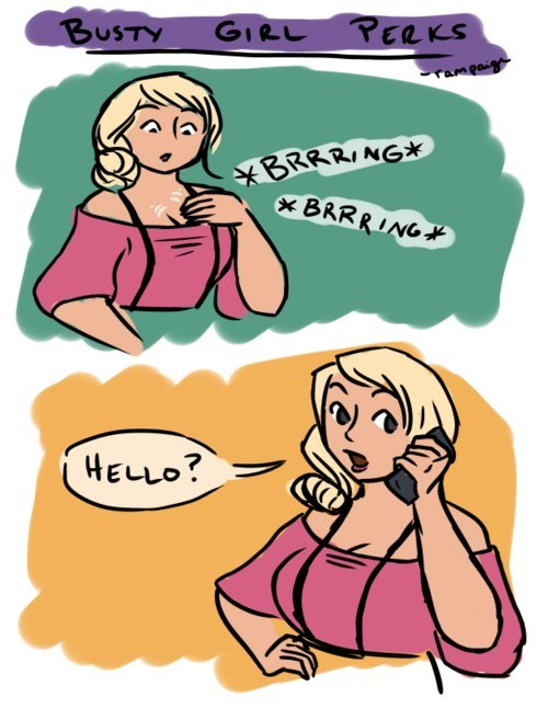 Cartoon - BUSTY GIRL PERKS rampaige BRRRING* * BRRRING* HELLO?