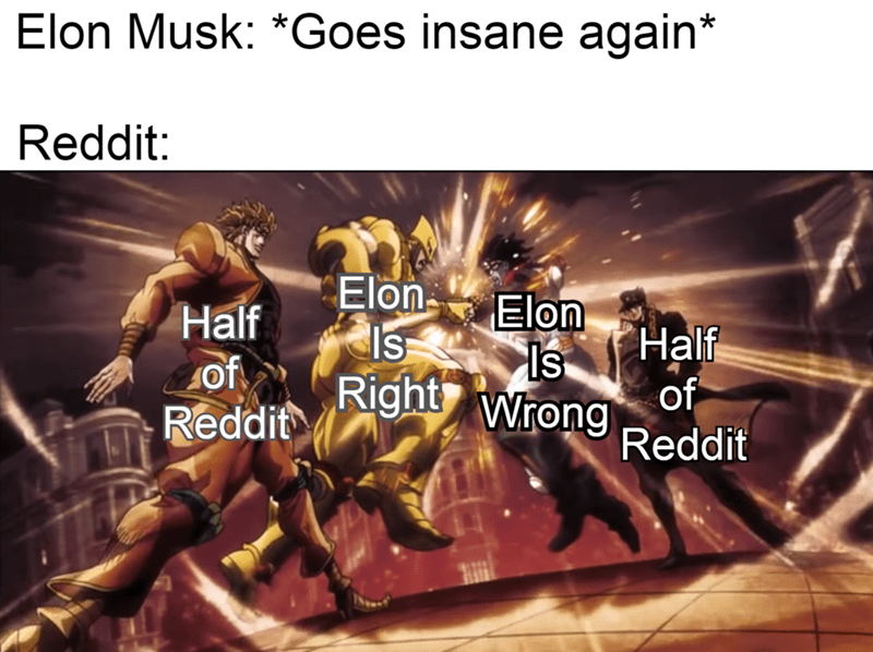 Text - Elon Musk: *Goes insane again* Reddit: Elon Half of. Reddit Elon Is Is Half Right Wrong of Reddit