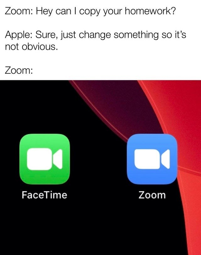Text - Zoom: Hey can I copy your homework? Apple: Sure, just change something so it's not obvious. Zoom: FaceTime Zoom