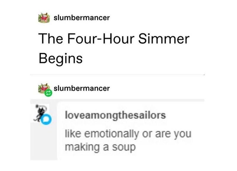 Text - slumbermancer The Four-Hour Simmer Begins slumbermancer loveamongthesailors like emotionally or are you making a soup