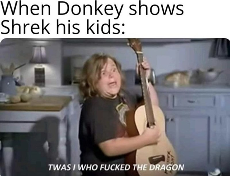 Shoulder - When Donkey shows Shrek his kids: TWAS I WHO FUCKED THE DRAGON