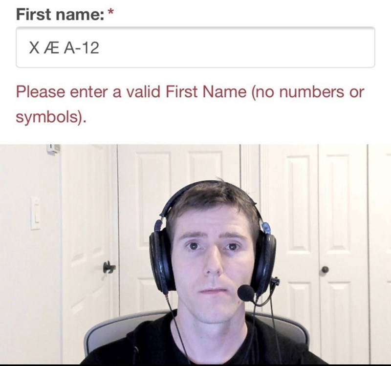 Headphones - First name: * XÆ A-12 Please enter a valid First Name (no numbers or symbols).