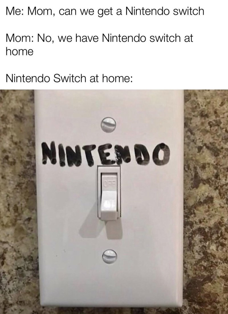 Text - Me: Mom, can we get a Nintendo switch Mom: No, we have Nintendo switch at home Nintendo Switch at home: NINTENDO