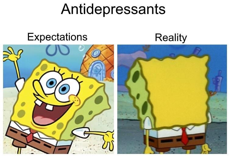 Cartoon - Antidepressants Expectations Reality