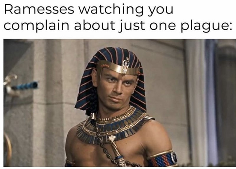 People - Ramesses watching you complain about just one plague:
