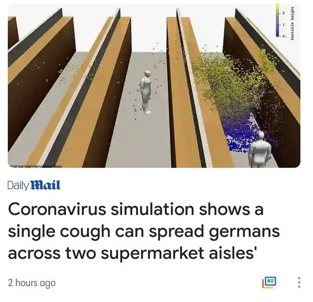 Font - Daily Mail Coronavirus simulation shows a single cough can spread germans across two supermarket aisles' 2 hours ago Partiele height
