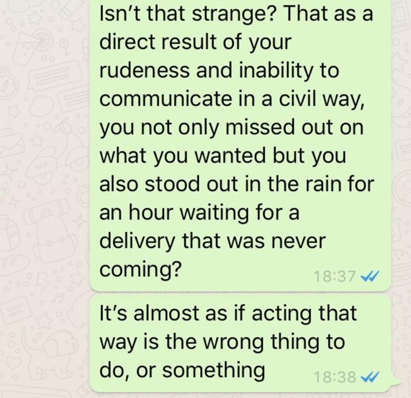 Text - Isn't that strange? That as a direct result of your rudeness and inability to communicate in a civil way, you not only missed out on what you wanted but you also stood out in the rain for an hour waiting for a delivery that was never coming? 18:37 It's almost as if acting that way is the wrong thing to do, or something 18:38