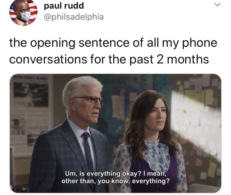 "Funny Twitter meme that reads, ""The opening sentence of all my phone conversations for the past two months"" above a still of someone saying, ""Um, is everything ok? I mean, other than, you know, everything?"""