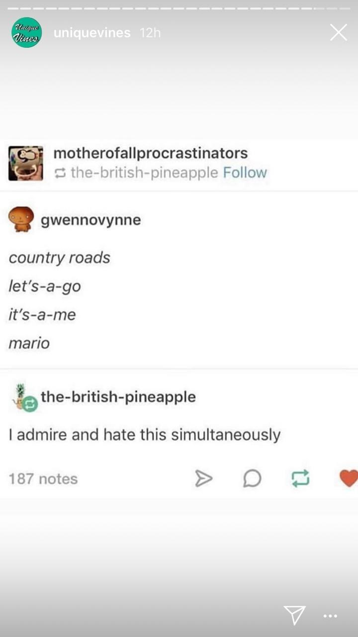 Text - Uutgue Vines uniquevines 12h motherofallprocrastinators S the-british-pineapple Follow gwennovynne country roads let's-a-go it's-a-me mario the-british-pineapple I admire and hate this simultaneously 187 notes
