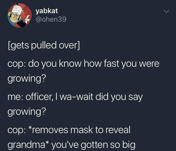 Text - yabkat @ohen39 [gets pulled over] cop: do you know how fast you were growing? me: officer, I wa-wait did you say growing? cop: *removes mask to reveal grandma* you've gotten so big