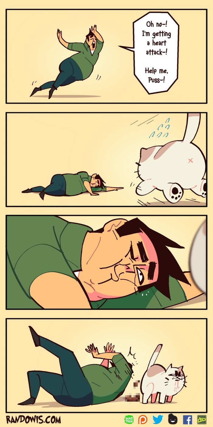 Cartoon - Oh no-! I'm getting a heart attack-! Help me, Puss-! RANDOWIS.COM WEB TOON