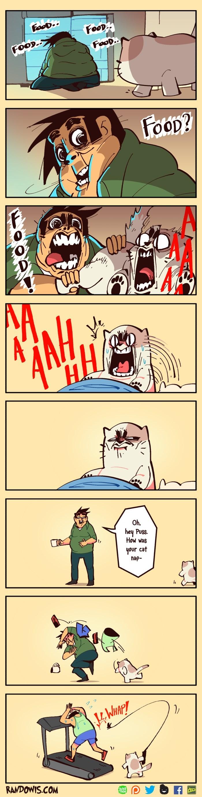 Cartoon - FooD.. FOOD FOOD. FOOD.. FoOD? Oh, hey Puss. How was your cat hap- KWIAP! RANDOWIS.COM WEB TOON
