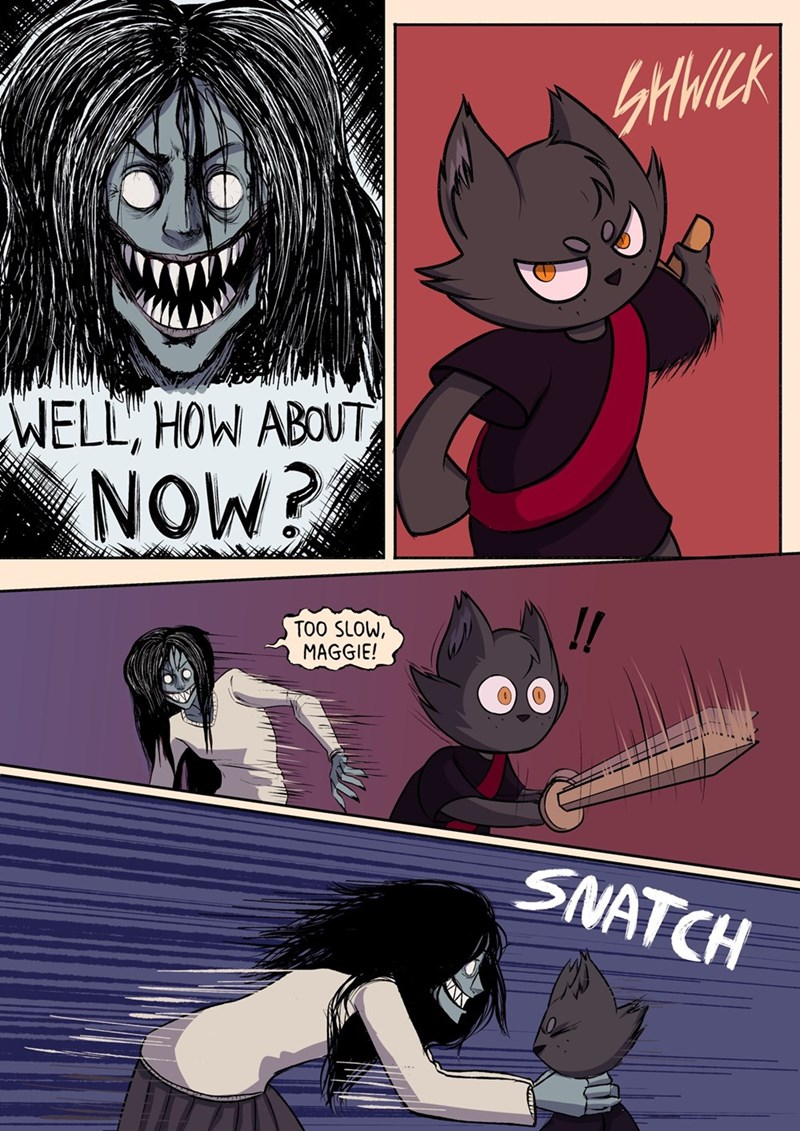 Cartoon - SHWICK WELL, HOW ABOUT NOW? TOO SLOW, MAGGIE! SNATCH
