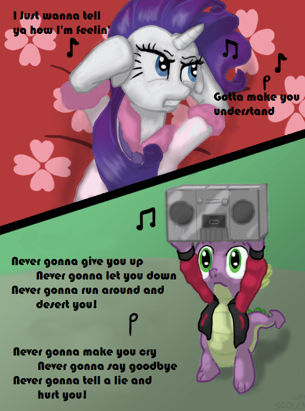 sgolem spike never gonna give you up rarity rick astley - 9483082496