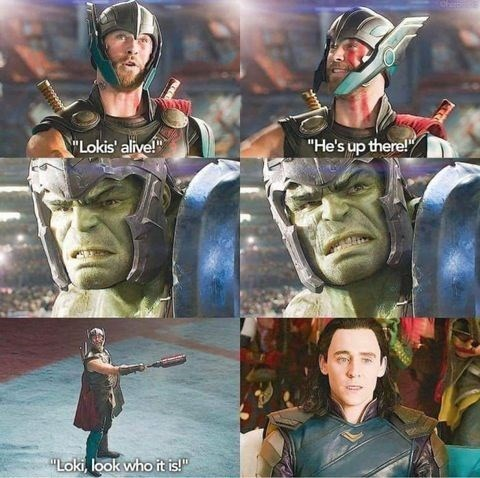 "Hero - ""Lokis' alive!"" ""He's up there!"" ""Loki, look who it is!"""