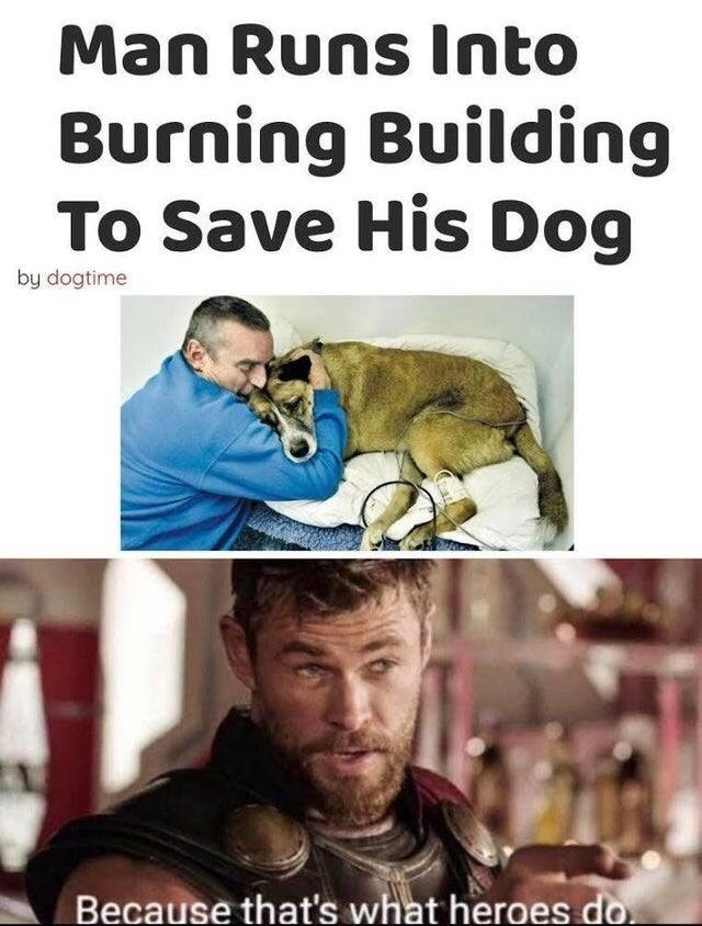 Photo caption - Man Runs lnto Burning Building To Save His Dog by dogtime Because that's what heroes do