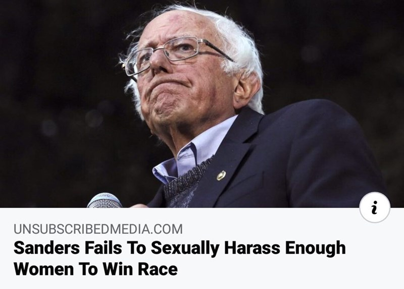 Photo caption - UNSUBSCRIBEDMEDIA.COM Sanders Fails To Sexually Harass Enough Women To Win Race