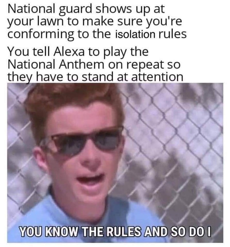 Face - National guard shows up at your lawn to make sure you're conforming to the isolation rules You tell Alexa to play the National Anthem on repeat so they have to stand at attention YOU KNOW THE RULES AND SO DO I