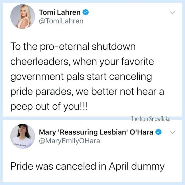 Text - Tomi Lahren @TomiLahren To the pro-eternal shutdown cheerleaders, when your favorite government pals start canceling pride parades, we better not hear a peep out of you!!! The Iron Snowflake Mary 'Reassuring Lesbian' O'Hara @MaryEmilyOHara wer Agenda Pride was canceled in April dummy