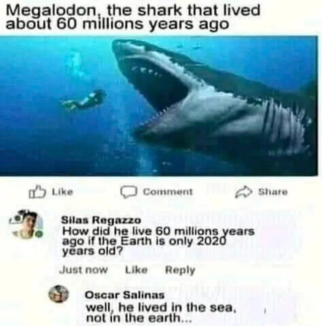 Marine biology - Megalodon, the shark that lived about 60 millions years ago O Like A Share Comment Silas Regazzo How did he live 60 millions years ago if the Earth is only 2020 years old? Just now Like Reply Oscar Salinas well, he lived in the sea, not in the earth...